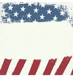 Empty white grunge canvas on american flag vector