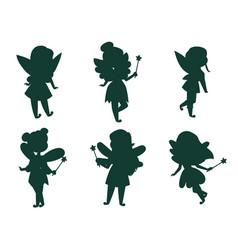 fairies princess silhouette fairy girl vector image