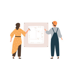 female architect and male engineer worker drawing vector image