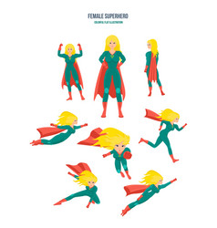 Female superhero in different situations and poses vector