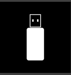 Flash drive white color icon vector