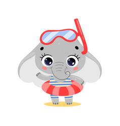 flat cute cartoon summer elephant vector image