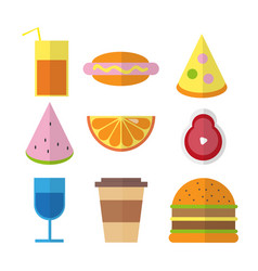 flat fast food colorful in bright vector image
