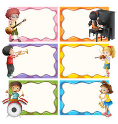 frame template with kids playing musical vector image