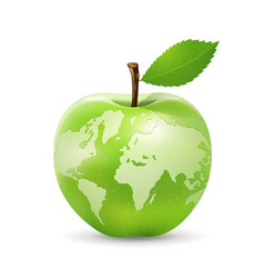 Green apple world map design isolated on white vector