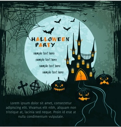 green grungy halloween background with castle vector image
