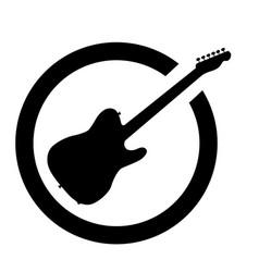 Guitar black ink stamp vector