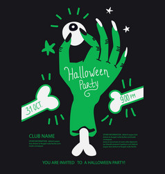 Halloween party poster invite with zombie hand vector