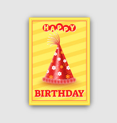 Happy birthday card with red cone festive hat vector