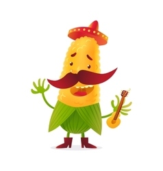 Happy corn character in boots and Mexican holding vector image