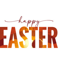 Happy easter elegant lettering with calvary cave vector