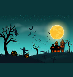 happy halloween with full moon on green background vector image