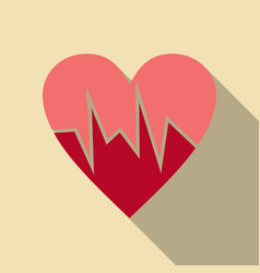 heartbeat icon red and rose heart with cardio line vector image