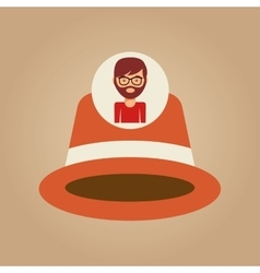 Hipster orange hat man bearded vector