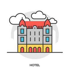 hotel line flat icon vector image