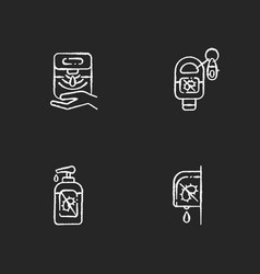 Hygienic hand sanitizers chalk white icons set vector