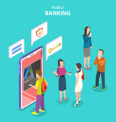 isometric flat concept mobile banking vector image