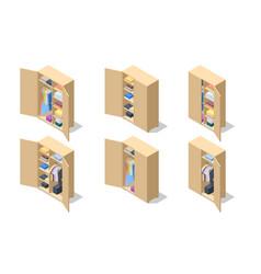 Isometric set icons large wardrobes closets vector