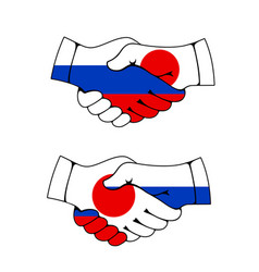 Japan and russia flags handshake partnership vector