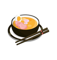 Japanese ramen soup with chopsticks and dish food vector