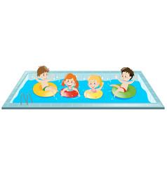 kids having fun in the pool vector image