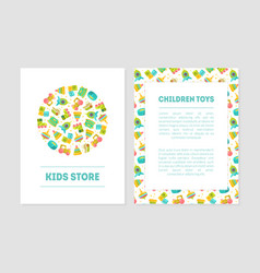 Kids store banner templates with cute batoys vector