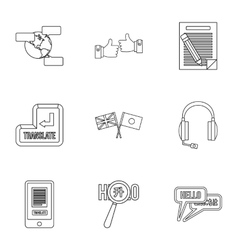 Languages icons set outline style vector