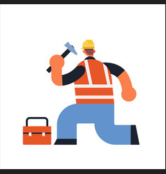 male builder using hammer and toolbox busy workman vector image