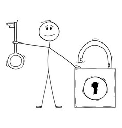 man holding key and lock security concept cartoon vector image