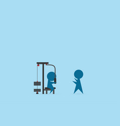 Man lifting weights with peck deck machine vector