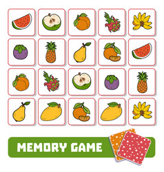 memory game for children cards with fruits vector image