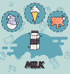 Milk production icons set vector