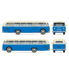 old blue bus mockup vector image