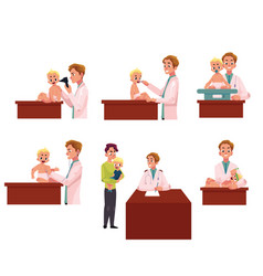 Pediatrician doctor working with baby infant vector