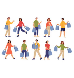 people with purchases shopping bag shop guy and vector image