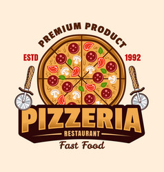 pizzeria emblem or logo in colorful style vector image