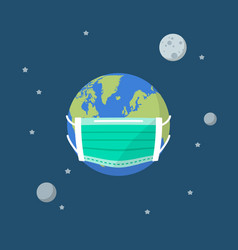 Planet earth wearing a protection medical mask vector