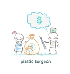 plastic surgeon thinks about money and takes a bag vector image vector image