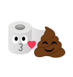 Poop and toilet tissue blowing kisses in love vector