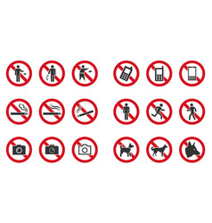 Prohibition sign set - no phone no littering no vector