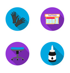 Protective gloves salon chair ink tattoo set vector