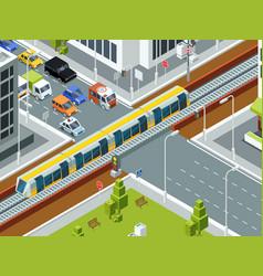 railway crossing isometric trains cars rails vector image