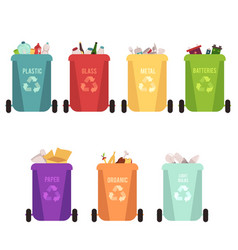 recycle bins and garbage types separation of vector image