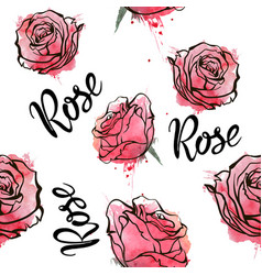 Red roses seamless watercolor pattern vector