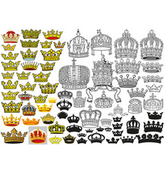 royal medieval heraldic crowns set vector image