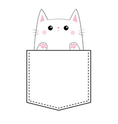 sad cat in the pocket paw print hand doodle vector image