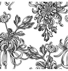seamless pattern with black and white japanese vector image