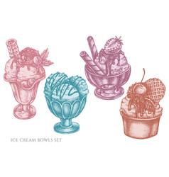 set hand drawn pastel ice cream bowls vector image