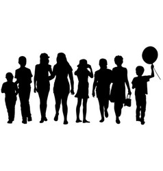 set of kid silhouettes vector image