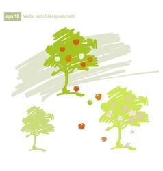 Set of stylized apple tree vector